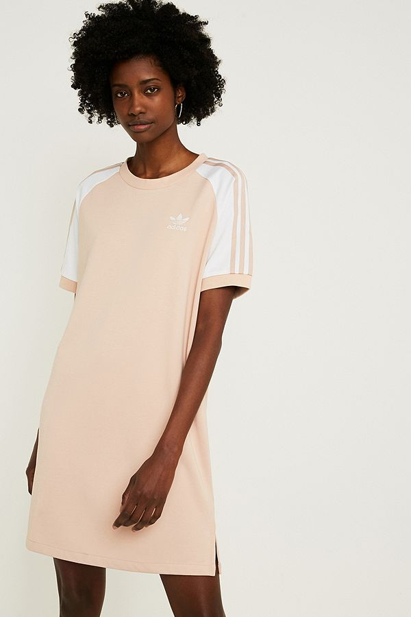 a9fa2e2a36f adidas Originals 3-Stripe Pink Raglan Sleeve T-Shirt Dress | Urban ...