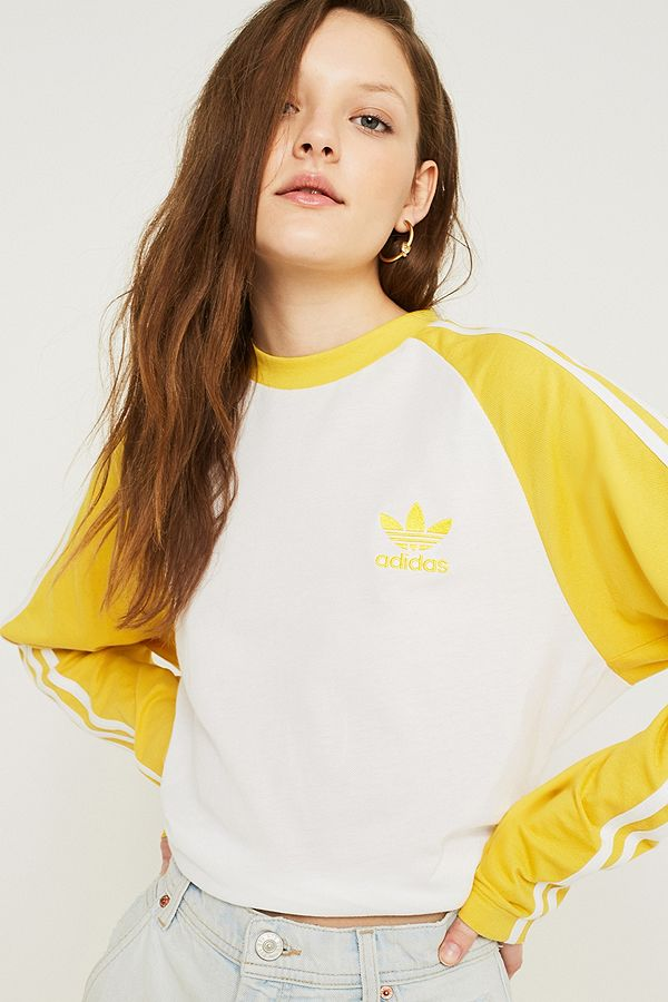 af43df0d2a0ab adidas Originals 3-Stripe Yellow Long-Sleeve Shirt | Urban Outfitters UK