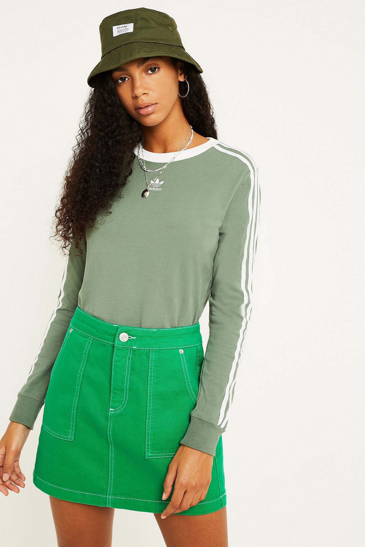 ef1c8656fe97c adidas Originals Khaki 3-Stripe Long-Sleeve T-Shirt | Urban ...