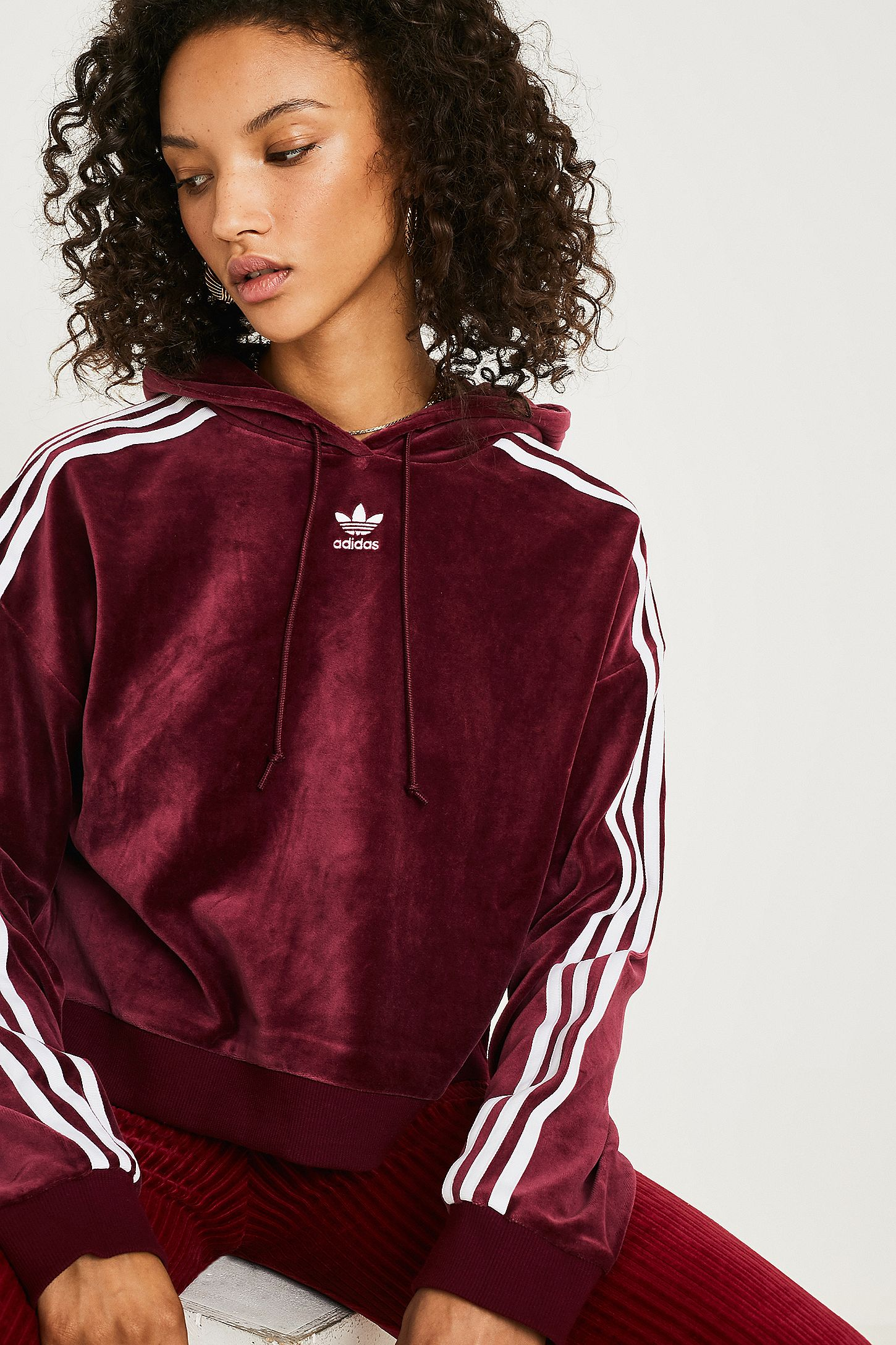 0b1176d009 adidas Originals Maroon Velour Cropped Hoodie | Urban Outfitters UK
