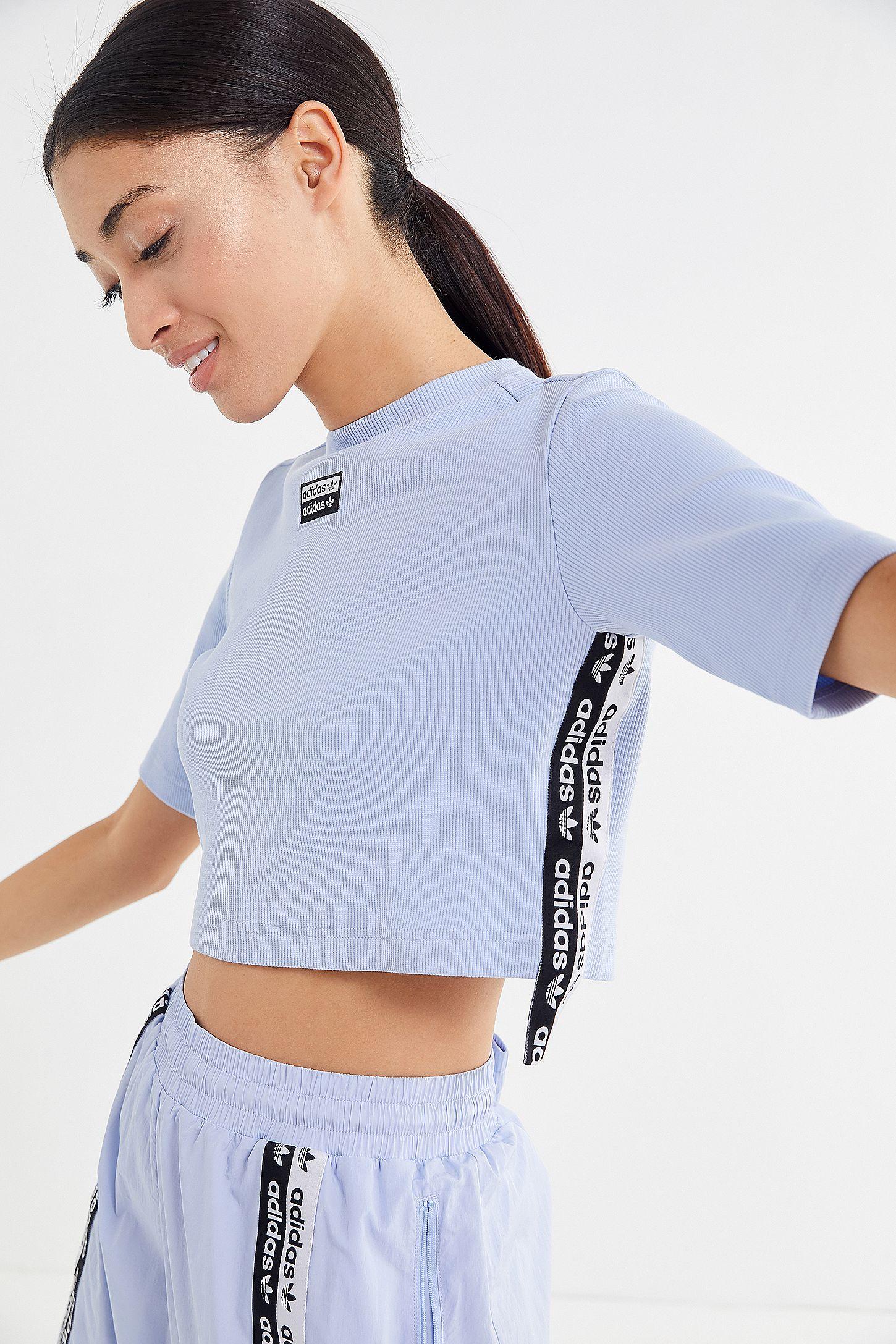 af74472583b adidas Originals Reveal Your Voice Ribbed Logo Tape Crop T-Shirt ...