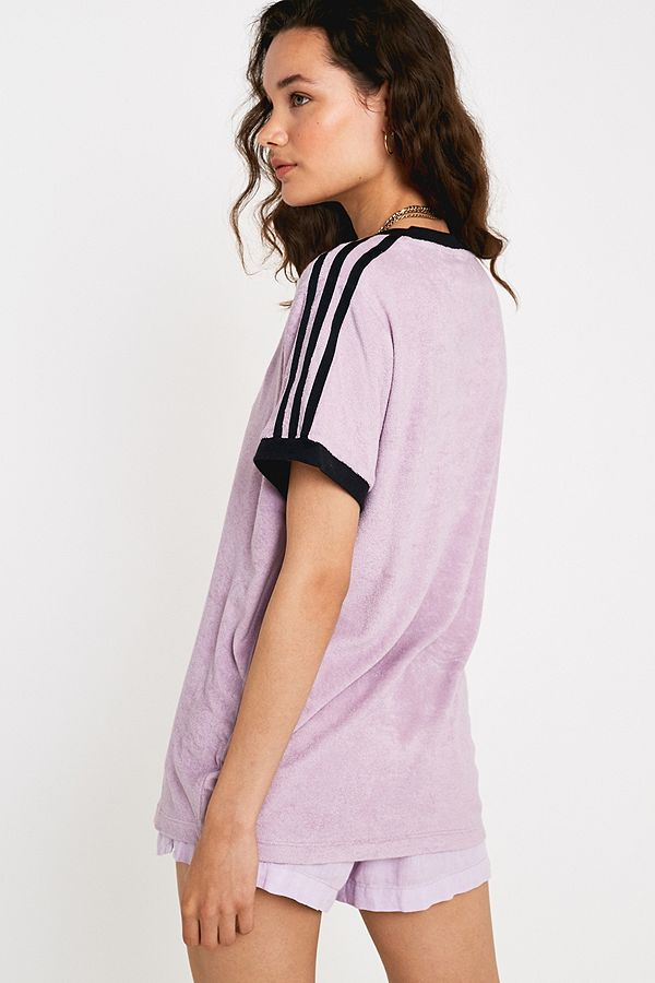 af0c64f4f98 adidas Originals Lilac Towelling 3-Stripe T-Shirt | Urban Outfitters UK