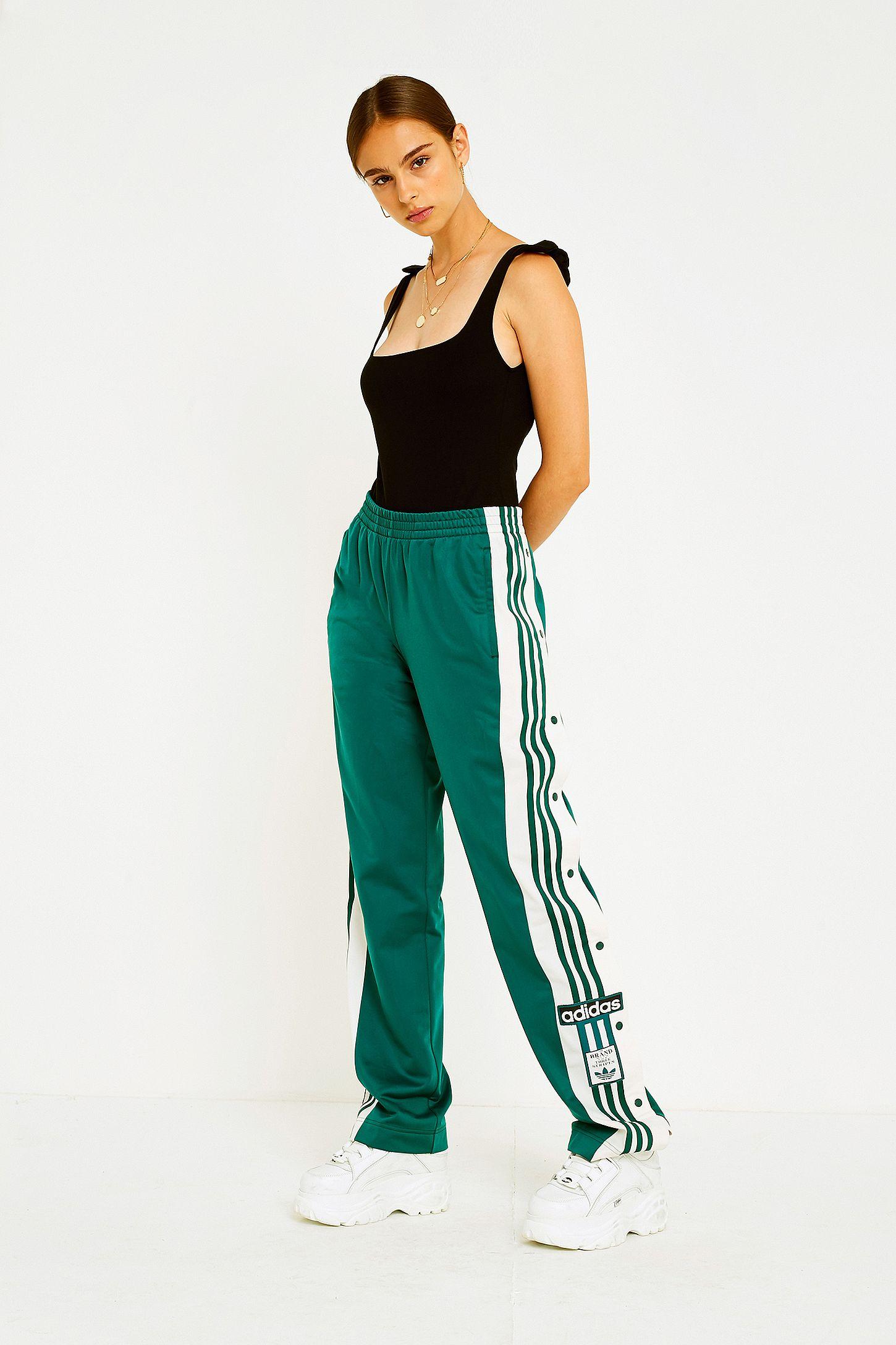 df7aa811a6e adidas Originals Adibreak 3-Stripe Green Popper Track Pants | Urban ...