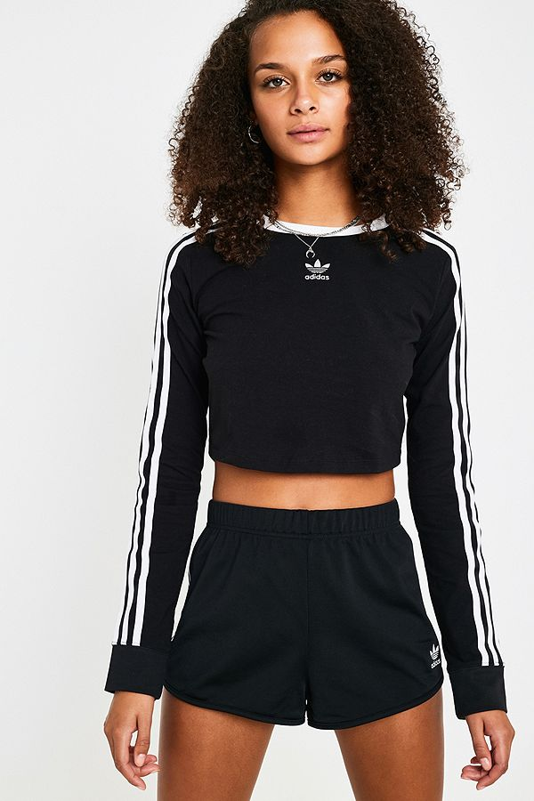 93df15290 adidas Originals Cropped Long-Sleeve Black T-Shirt | Urban Outfitters UK