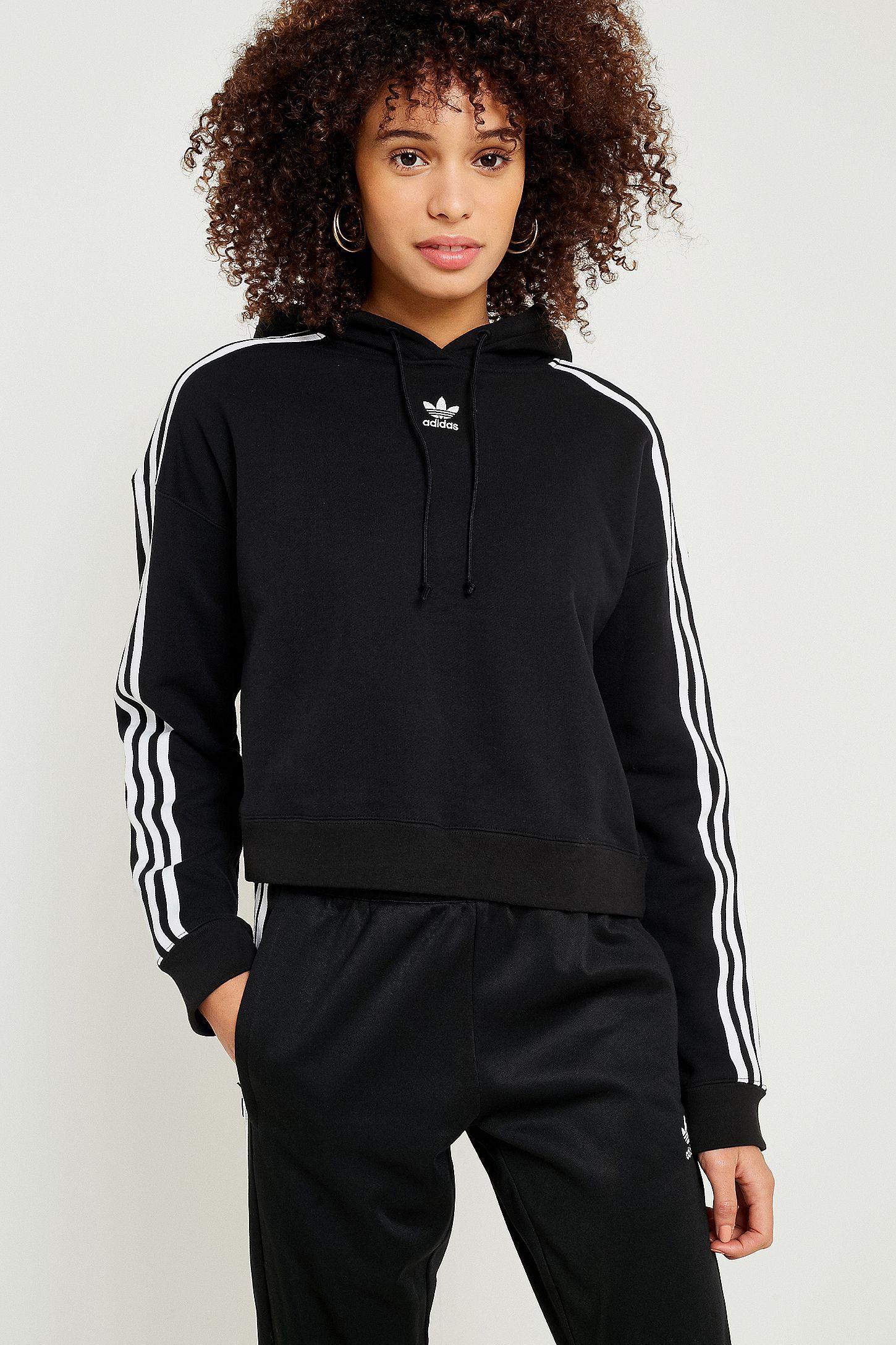 84cb9b23652086 adidas Originals 3-Stripe Cropped Hoodie