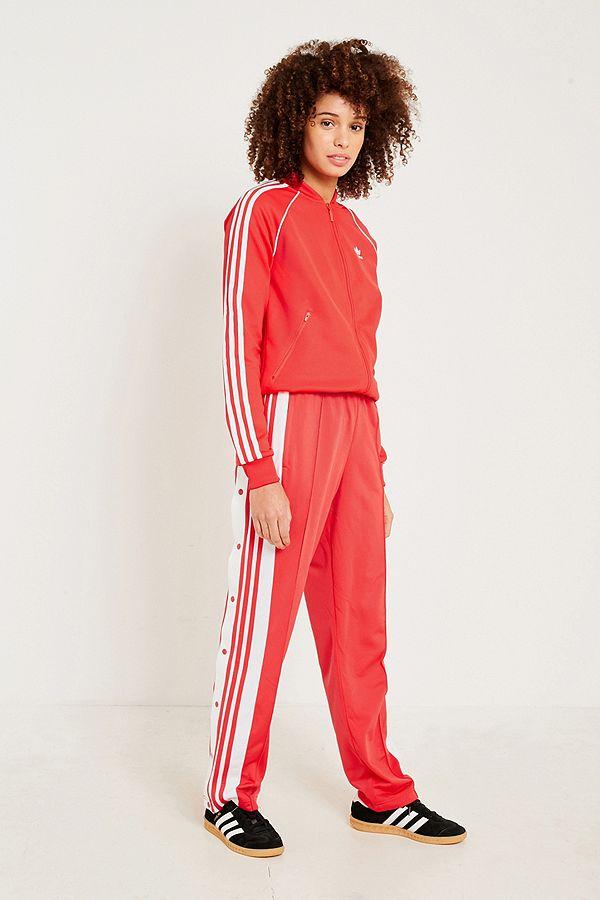 adidas Originals Adibreak Red 3 Stripe Popper Track Trousers