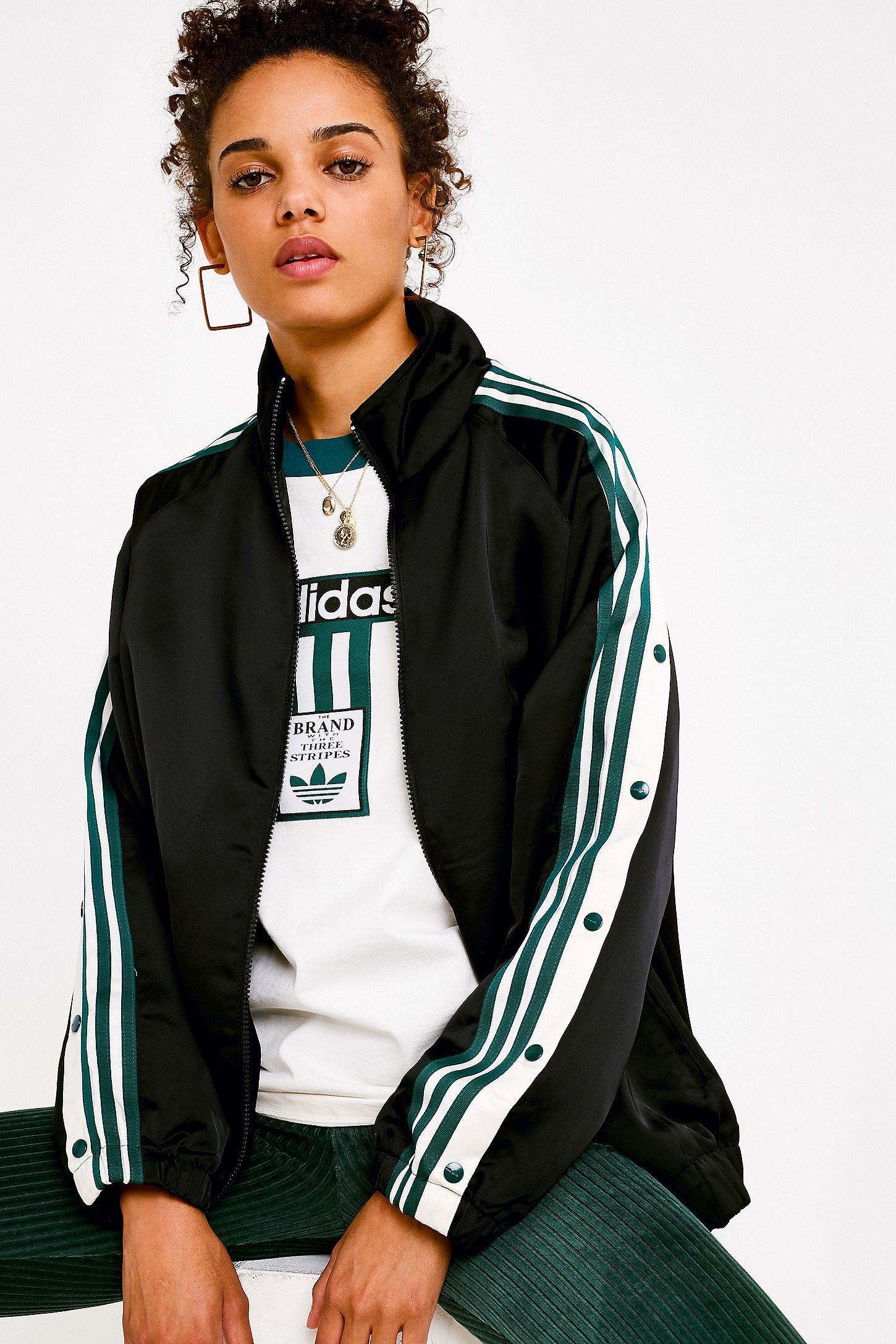 Satin Noir Bandes Adidas Originals En Haut Adibreak À Survêtement 3 De nwX0OPk8