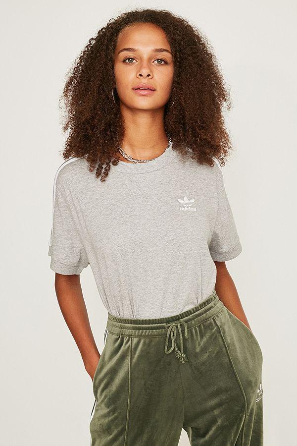 9e911d8b068c4 adidas Originals 3-Stripe Grey T-Shirt | Urban Outfitters UK