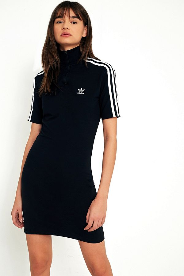 Originals 3 Zip Mock Adidas Half Neck Stripe Dress MVSzpUqG