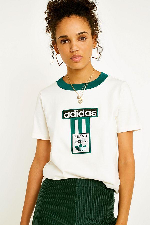 86b020e8320 adidas Originals Adibreak 3-Stripe Logo T-Shirt | Urban Outfitters UK