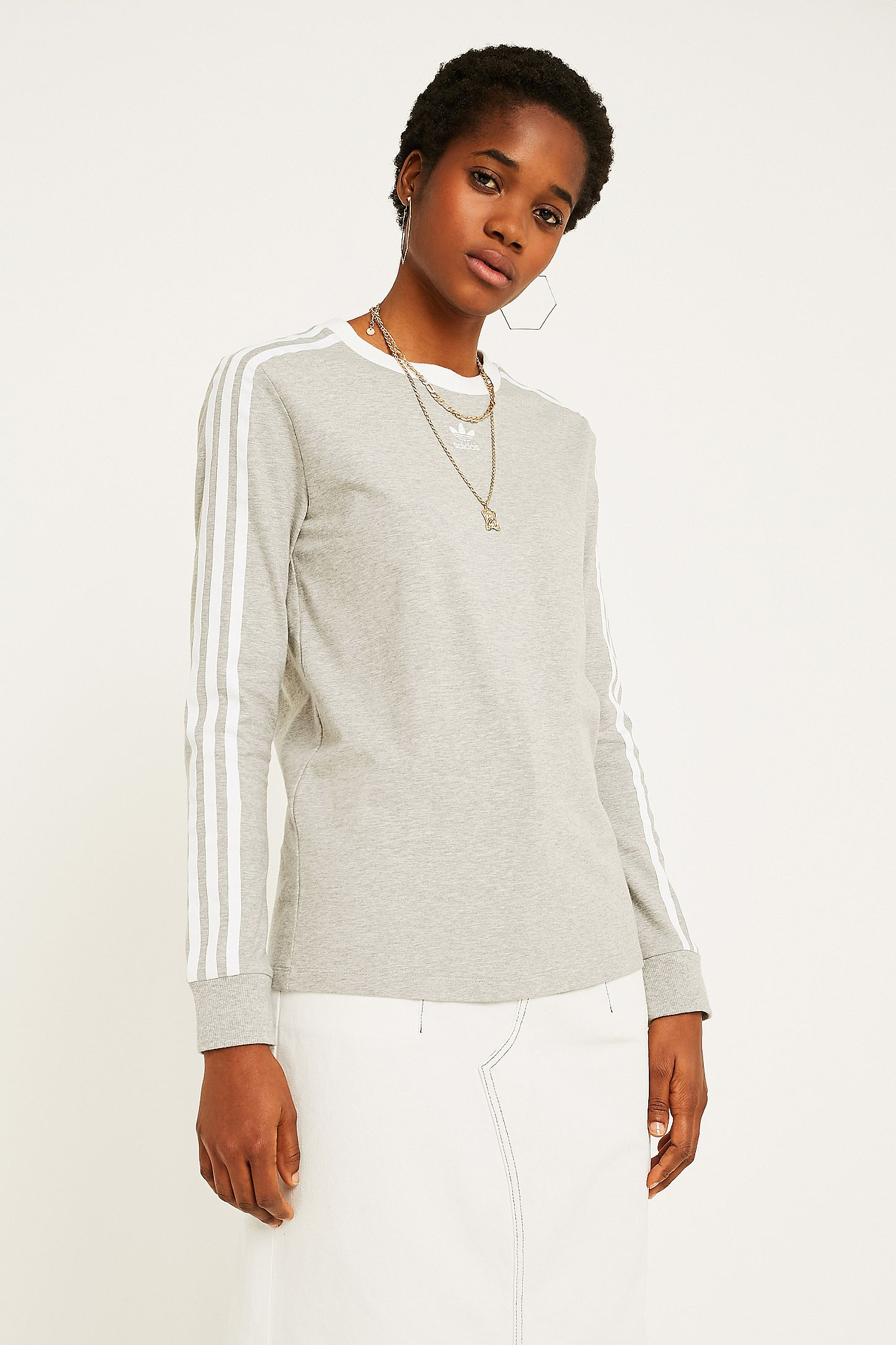 dd65328e316 adidas Originals Grey 3-Stripe Long-Sleeve T-Shirt. Click on image to zoom.  Hover to zoom. Double Tap to Zoom