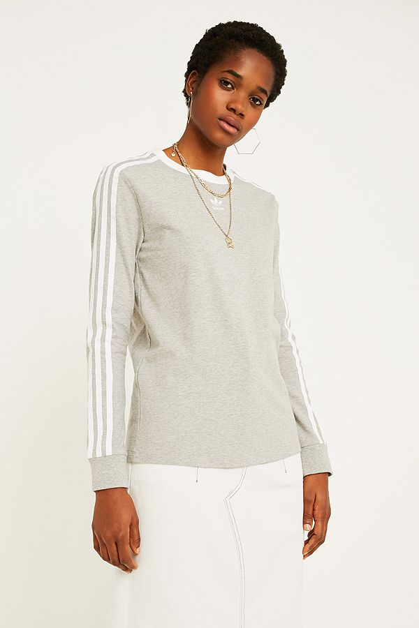 62af9b0d78e3 adidas Originals Grey 3-Stripe Long-Sleeve T-Shirt