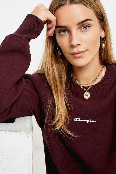 56b123f0742e Champion Script Logo Aubergine Crew Neck Sweatshirt