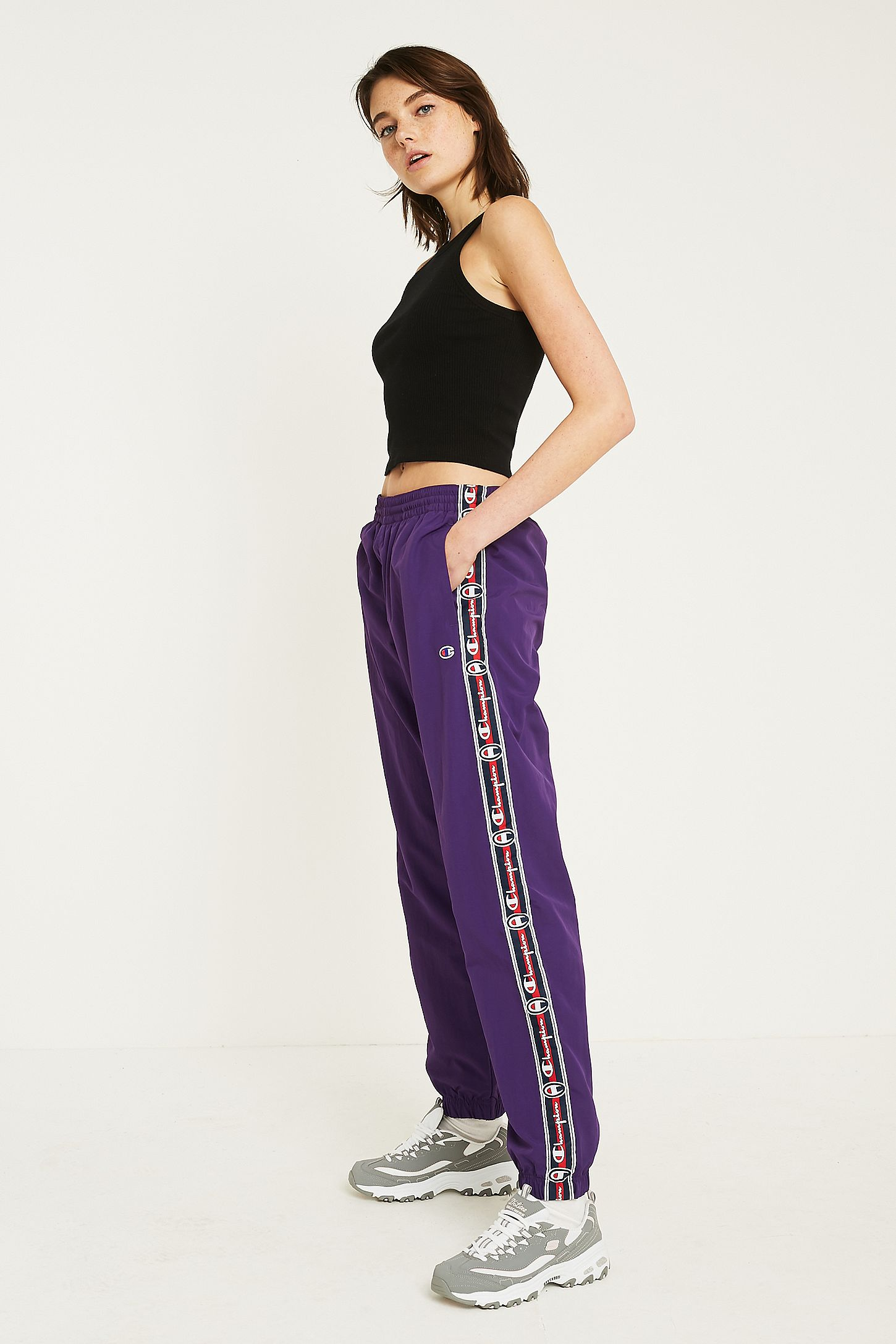68d17c933c24 Champion Purple Taped Track Pant. Click on image to zoom. Hover to zoom.  Double Tap to Zoom