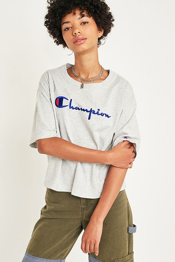 ec67c8be3 Champion Oversized Grey Logo Script Crop T-Shirt   Urban Outfitters UK