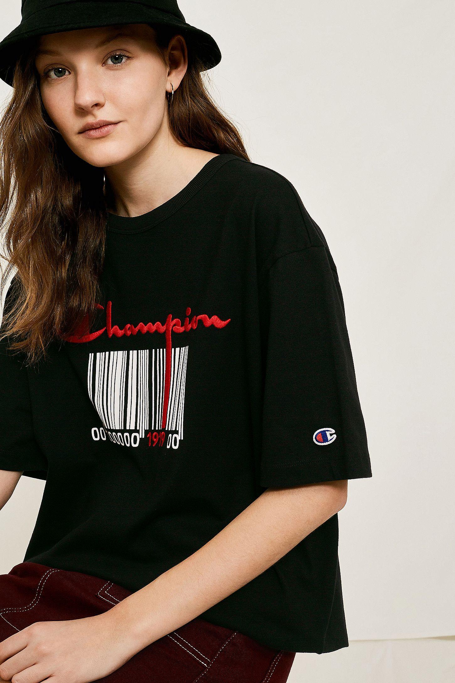 21426affa Champion Black Barcode Maxi T-Shirt | Urban Outfitters UK