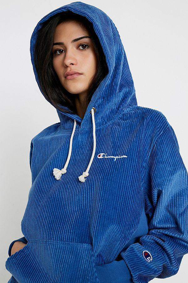 Champion Sweat à capuche bleu en velours côtelé