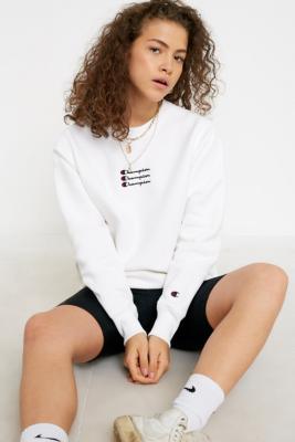 Champion Uo Exclusive Triple Script Logo White Crew Neck Sweatshirt by Champion