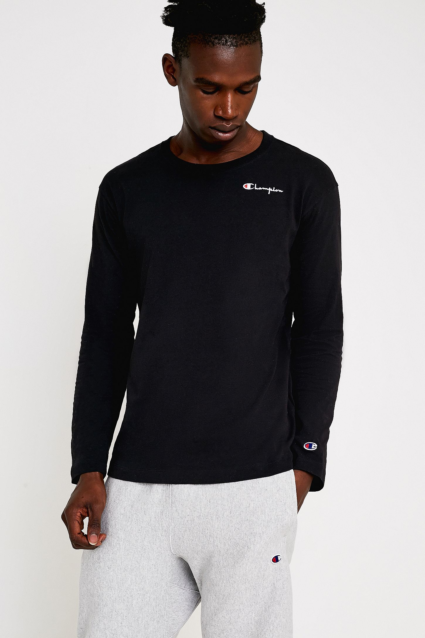 3de9062f81e4 Champion Black Script Logo Slim-Fit Long-Sleeve T-Shirt | Urban ...