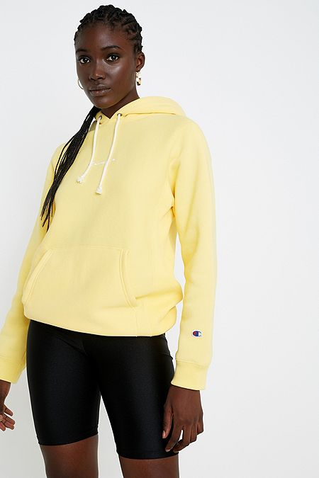 Champion UO Exclusive Yellow Logo Script Hoodie 0a720ddfb