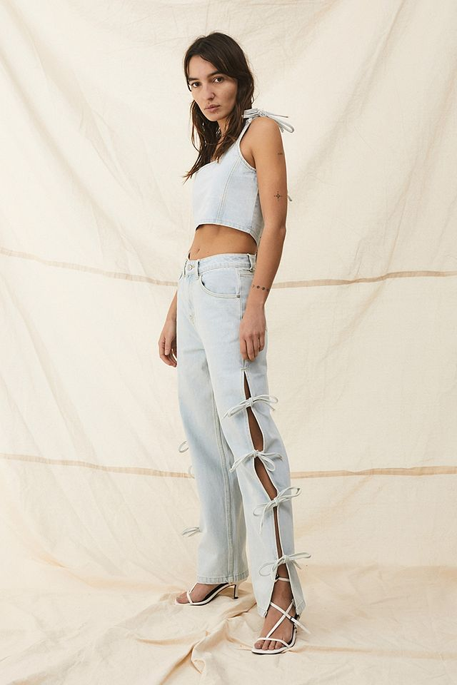Milk It Tie-Up Detail Twin Jeans Urban Outfitters