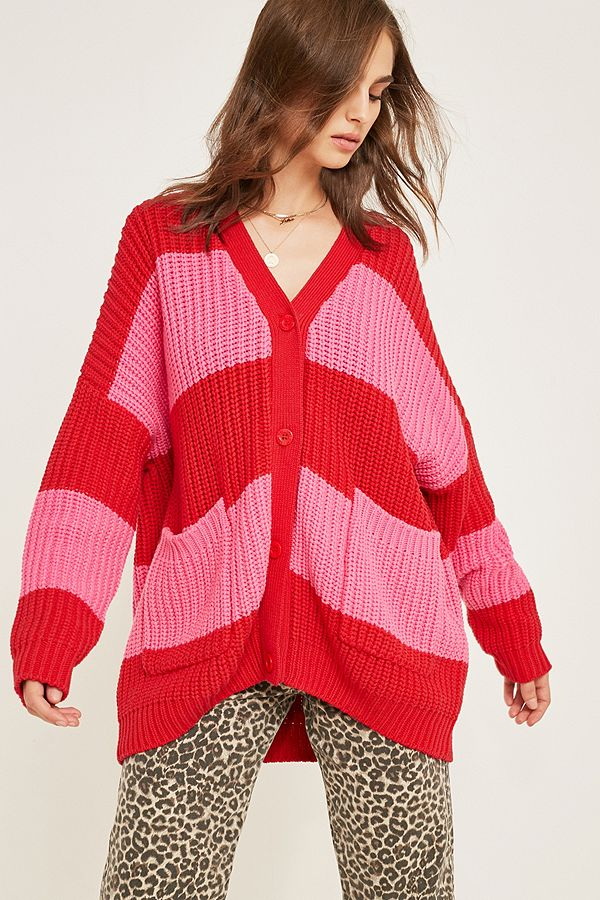 71eb2ed46f7d Lazy Oaf Life Is Hard Striped Cardigan   Urban Outfitters UK