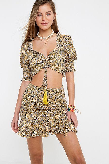 99b94c6e8e68 Kiss The Sky Gold Fields Floral Mini Skirt