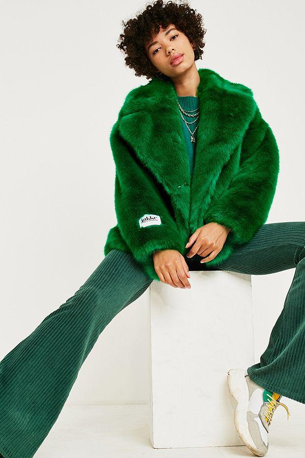 b5c9275b Jakke Rita Green Faux Fur Jacket | Urban Outfitters UK