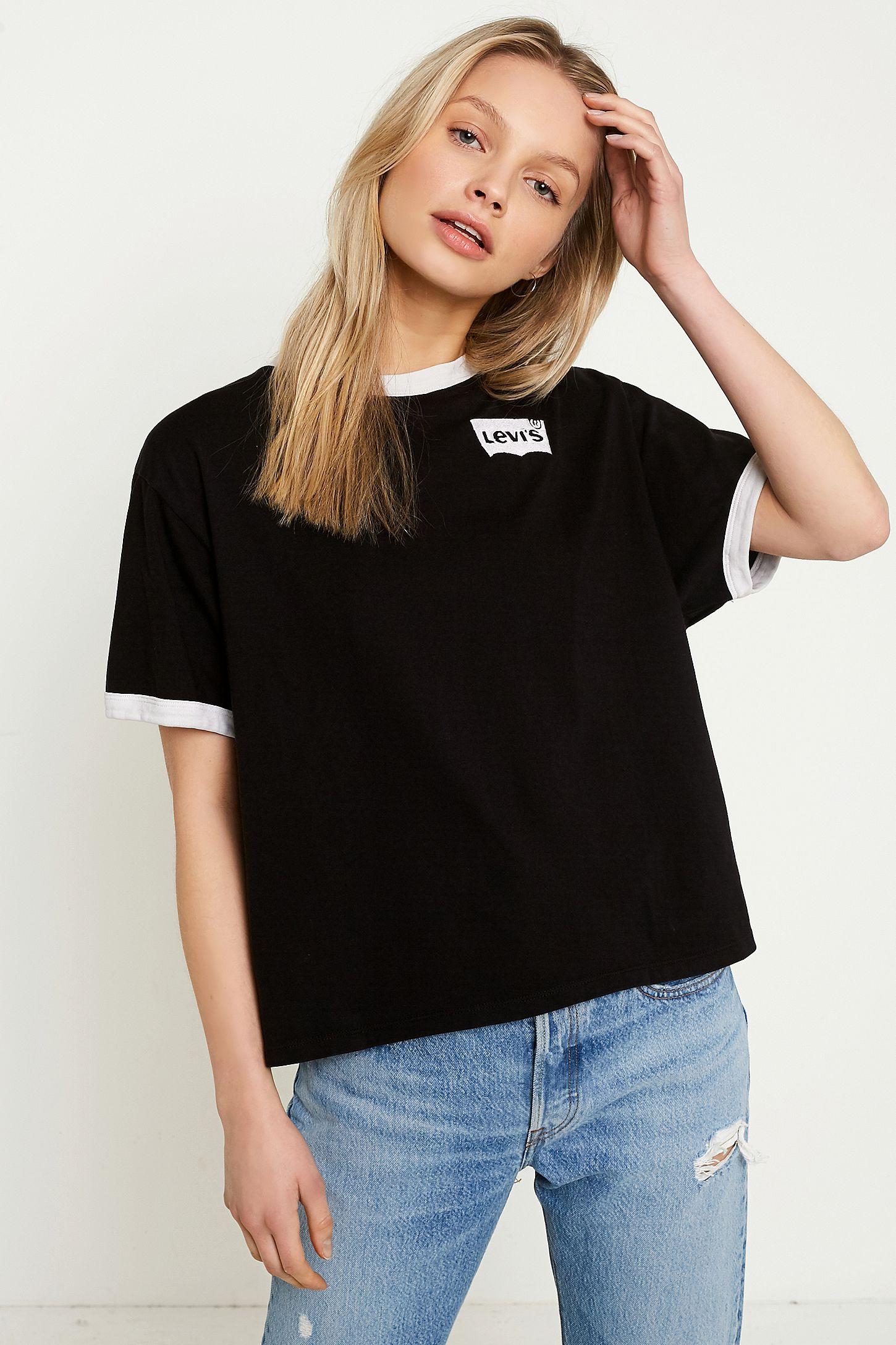 f86abe335 Levi's Black JV Ringer T-Shirt | Urban Outfitters UK