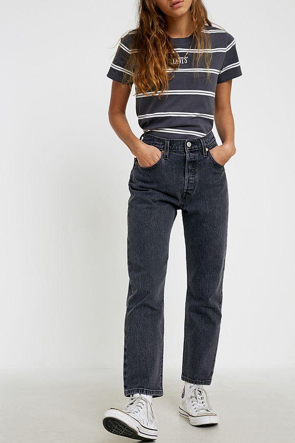 Levi's 501 Washed Black Denim Crop Jeans by Levi's