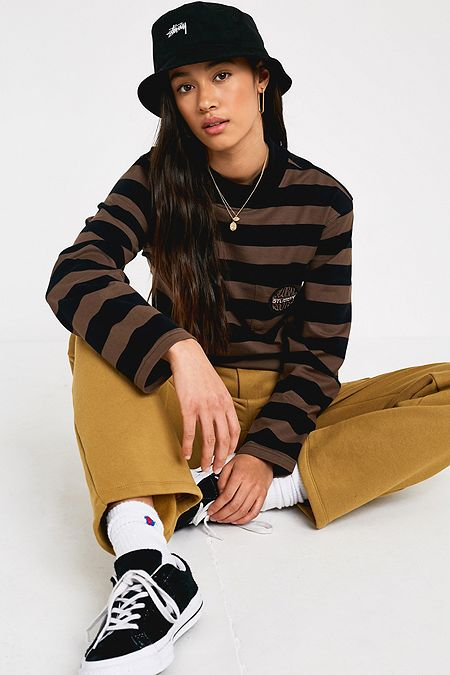 cab37d0fd29 Stussy Lucile Stripe Mock Neck Long-Sleeve T-Shirt
