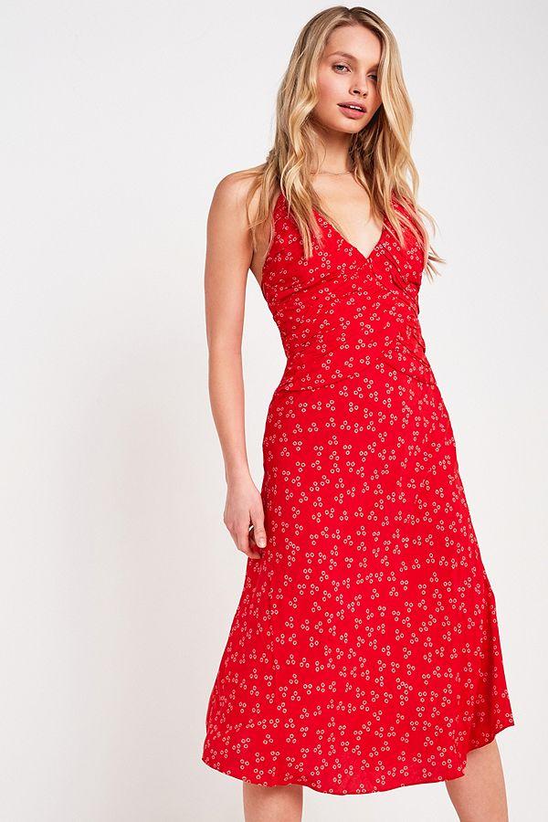 2cfd23d8280 Slide View  1  Finders Keepers - Robe midi Frida froncée et à fleurs rouge