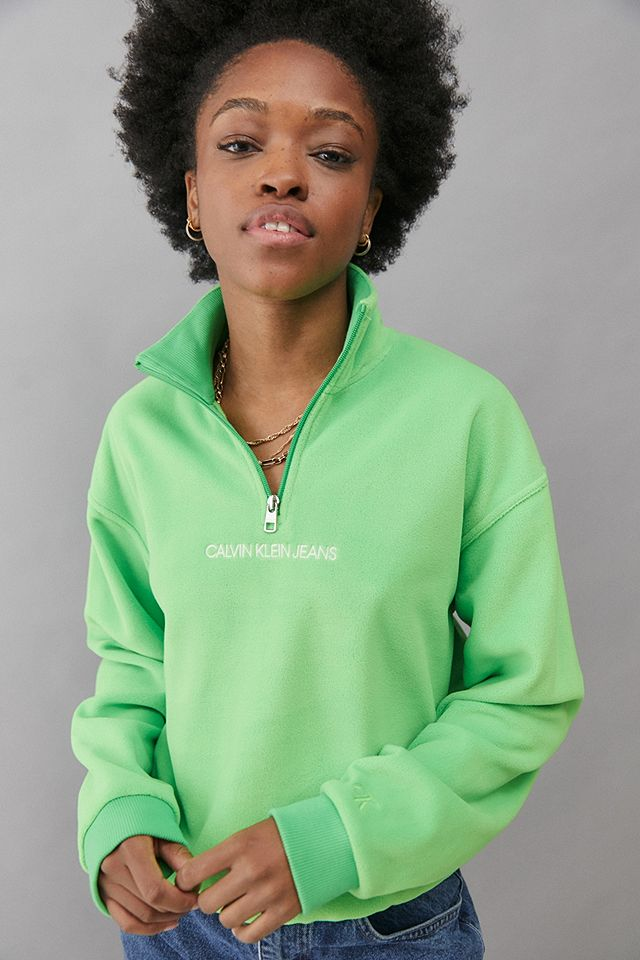 Calvin Klein Green Quarter-Zip Fleece Sweatshirt