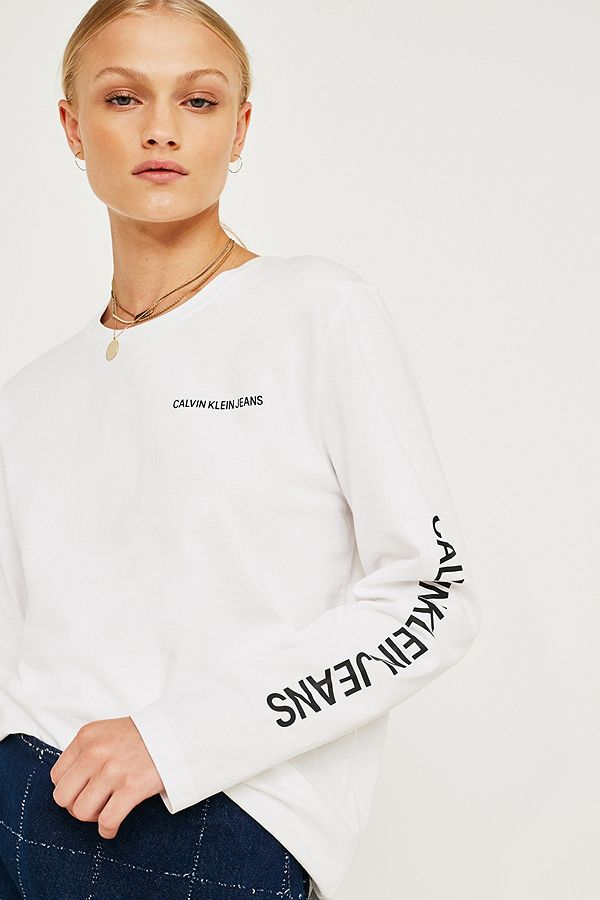 8b0bcfb5 Calvin Klein Jeans White Relaxed Long-Sleeve T-Shirt