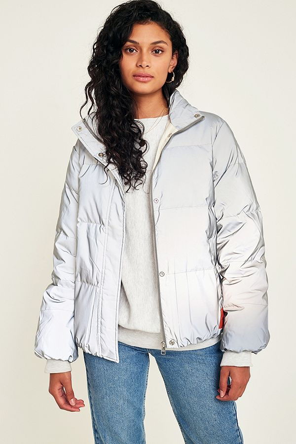 595713b7ec49cb Calvin Klein Jeans Reflective Down Puffer Jacket | Urban Outfitters UK