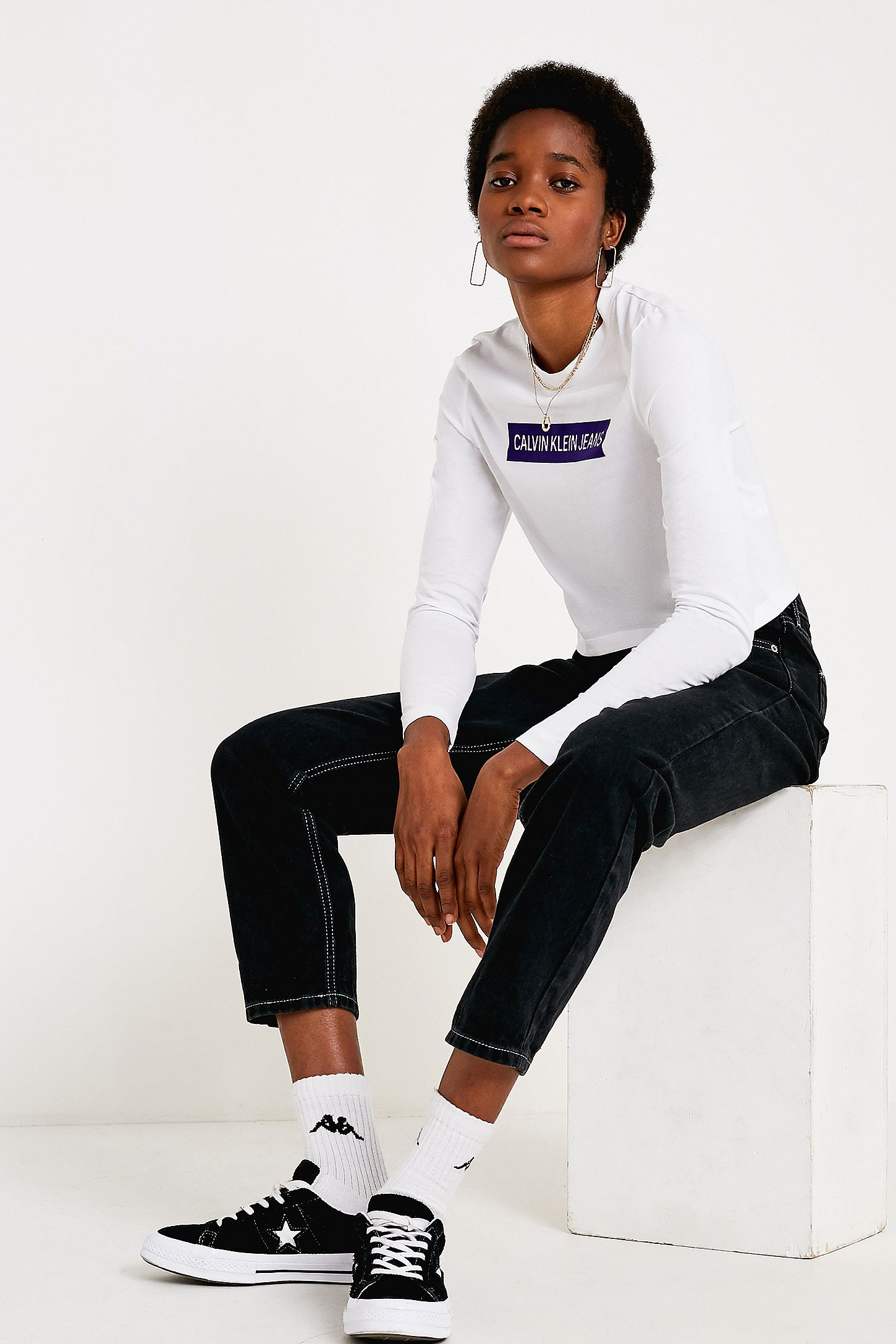 0ee342562c43 Calvin Klein Jeans Institutional Logo Long-Sleeve Crop T-Shirt. Click on  image to zoom. Hover to zoom. Double Tap to Zoom
