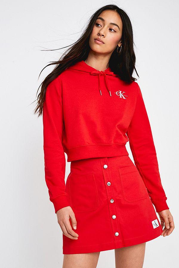 154c37377e9f Slide View: 1: Calvin Klein Jeans Cotton Twill Button-Through Mini Skirt