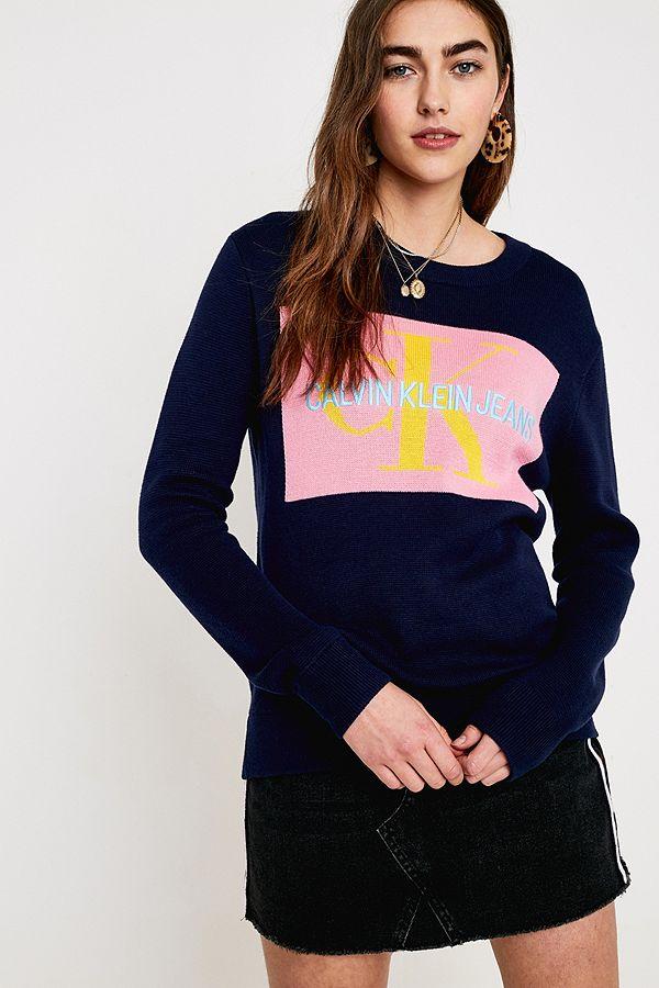 d98f9cdb Calvin Klein Jeans Monogram Box Logo Jumper | Urban Outfitters UK