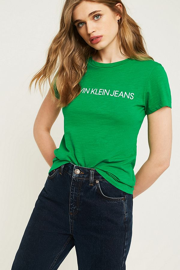2d1fc5dc Calvin Klein Jeans Slim-Fit Green Logo T-Shirt | Urban Outfitters UK