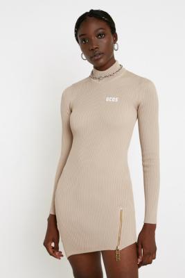 Gcds Ribbed Asymmetric Mini Dress by Gcds