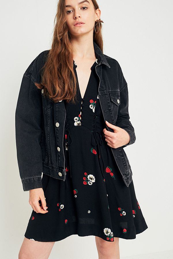 5bed9c6462da Free People Dream Girl Black Floral Mini Dress | Urban Outfitters UK