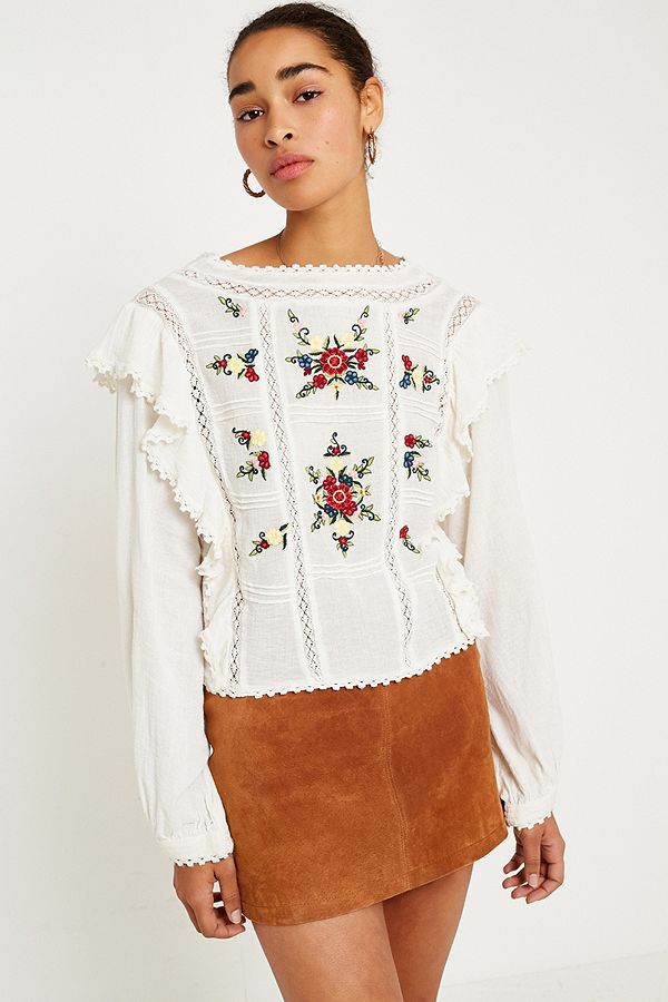 d4ec7a5a351c98 Free People Amy Floral Embroidered Top | Urban Outfitters UK