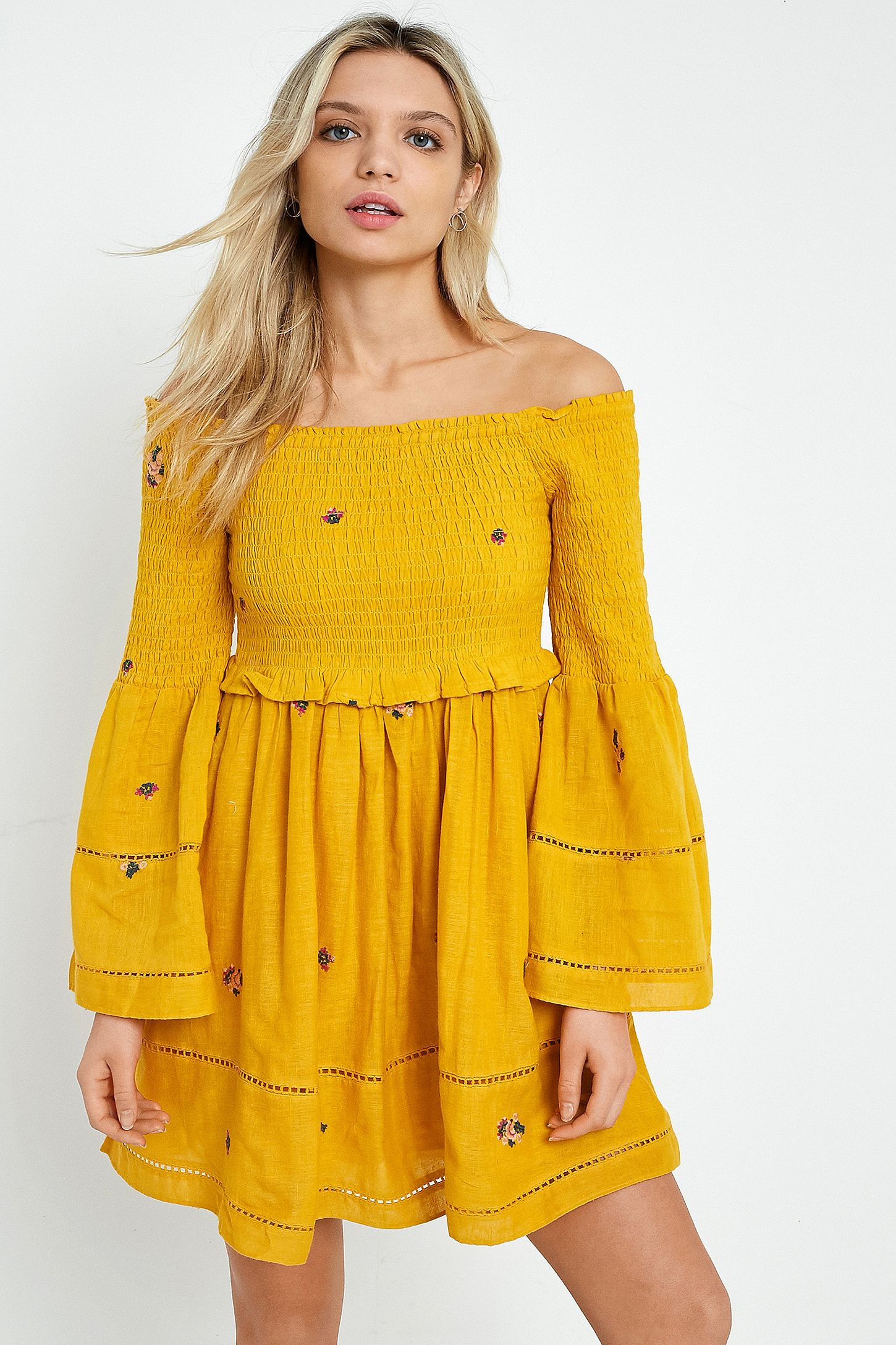 d86688d2012fc Free People Counting Daisies Yellow Embroidered Off-the-Shoulder Dress.  Click on image to zoom. Hover to zoom. Double Tap to Zoom