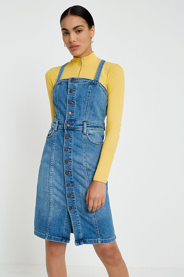804fc715595f Free People Denim Button-Front Pinafore Dress
