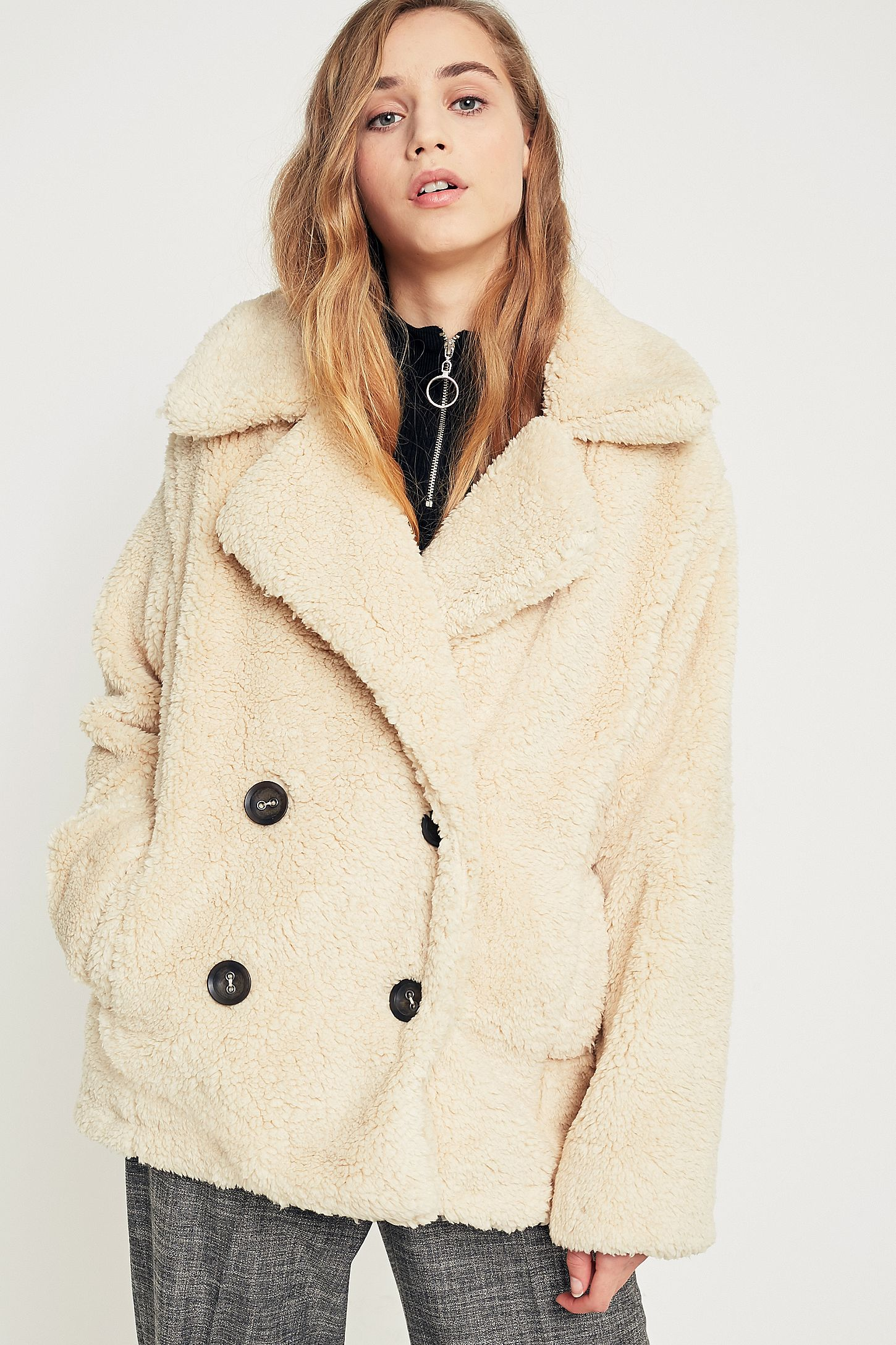 28b073a7d944 Free People Ivory Notched Lapel Teddy Peacoat