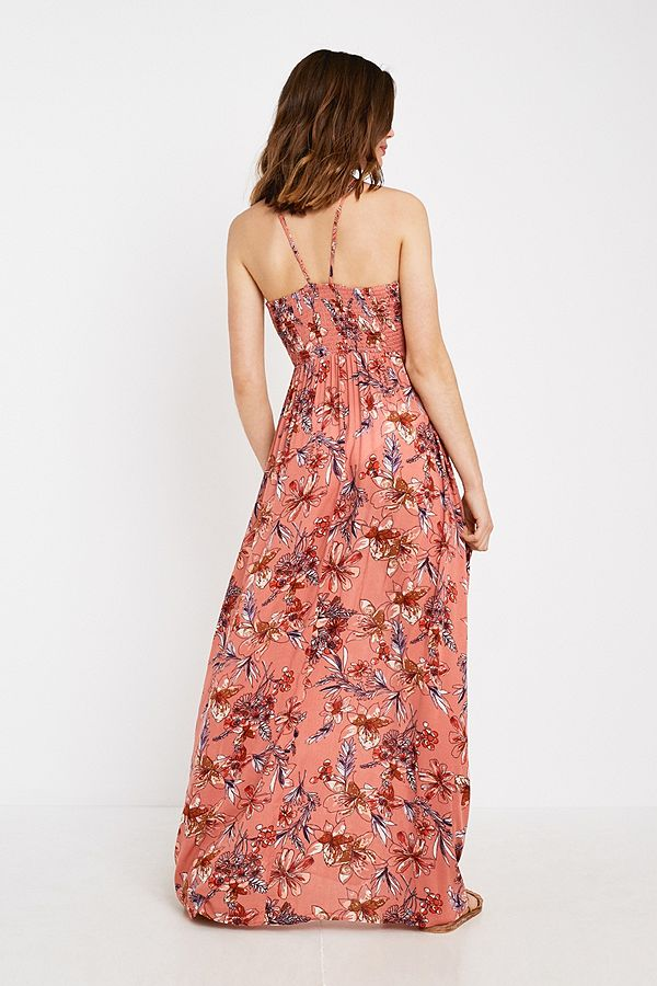 e679ca0dd48d Free People One Step Ahead Pink Floral Maxi Dress | Urban Outfitters UK