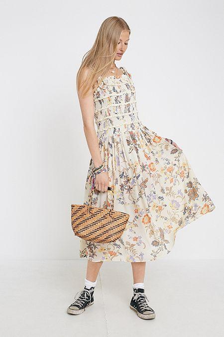 6ca4a264bcb Free People Isla Ivory Floral Midi Dress