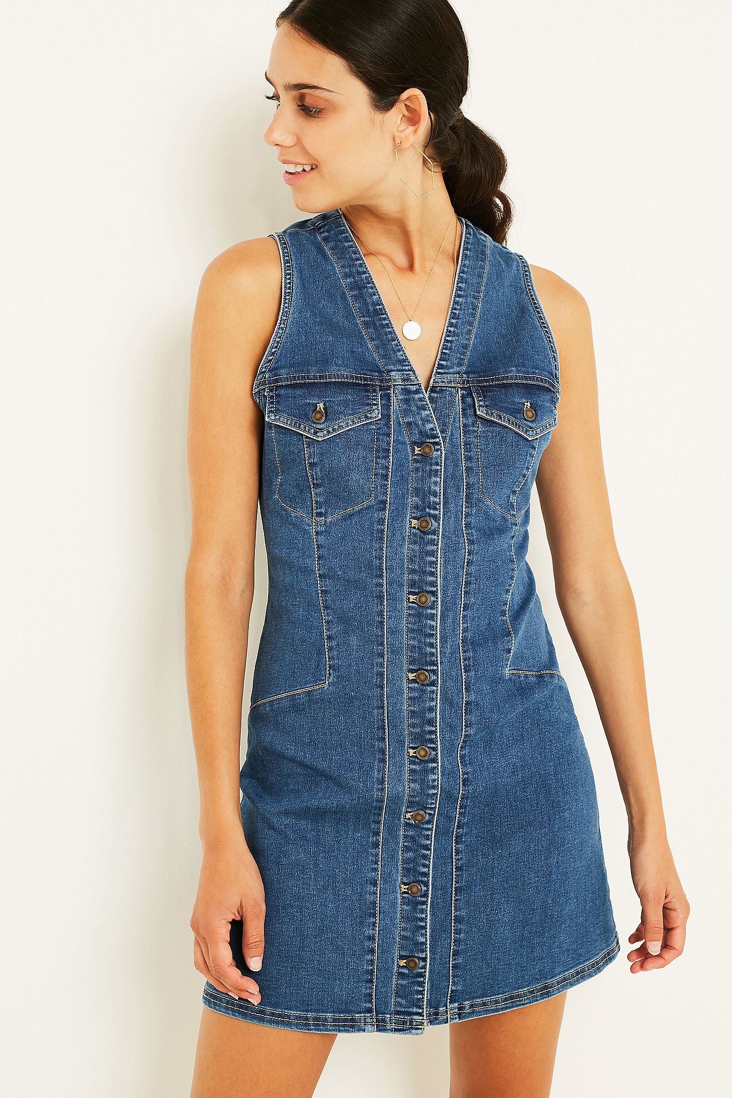 20ed7ccbc3 Free People Wandering Star Denim Mini Dress. Click on image to zoom. Hover  to zoom. Double Tap to Zoom