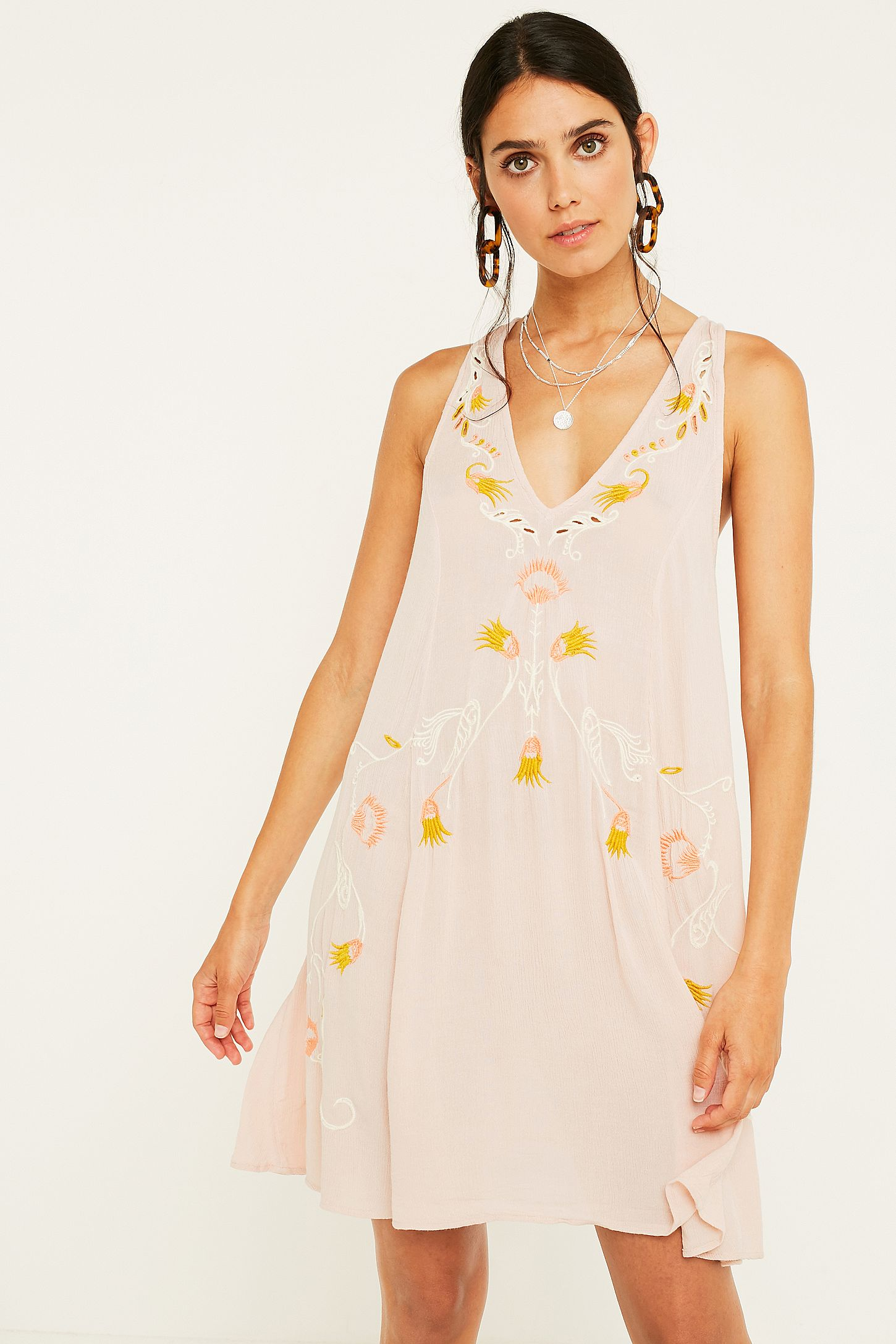 f2bd1b360661 Free People Adelaide Pink Floral Slip Mini Dress. Click on image to zoom.  Hover to zoom. Double Tap to Zoom