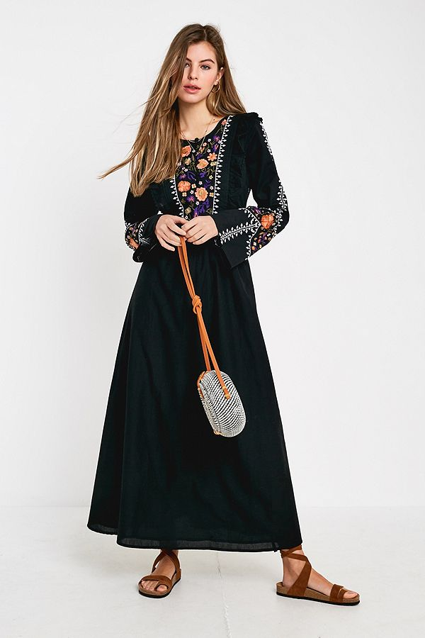 403c049df28f Violet Skye Embroidered Black Maxi Dress | Urban Outfitters UK